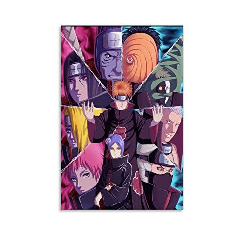 EKEL Póster de anime Akatsuki de Naruto en lienzo y arte de la pared con impresión moderna para dormitorio familiar de 20 x 30 cm