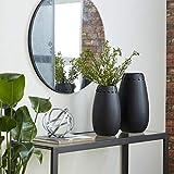 """Deco 79 57486 Round Ceramic Black Vases with Leather Accents, Set of 2: 16"""" x 13"""",Medium"""