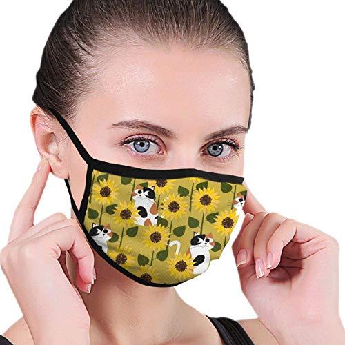 Kat In Zonnebloem Unisex Print s-moke Allergieën Wasbaar Herbruikbare Mond -Cover Haarband Cosplay Neus -Cover