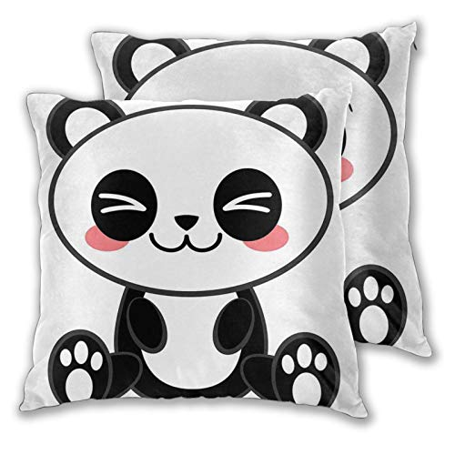 ALLMILL Square Cushion Cover 60x60cm 2 pieces Set,Cute Cartoon Smiling Panda Fun Animal Theme Japanese Manga Kids Teen Art decorative Throw Pillow Case for Couch Sofa Chair Bed Home office Decor