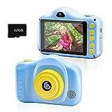 Chalpr Fotocamera bambini, Fotocamera Digitale per Bambini 1080P HD da 3,5 Pollici 30MP con Fotocamera per Selfie con Scheda SD da 32 GB Incorporata per 3-12 Anni Ragazzi Ragazze (blu)