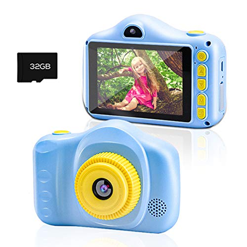 Kinderkamera, Chalpr Kamera für Kinder, Digitale Kinderkameras mit 3,5-Zoll-Bildschirm 12MP 1080P HD-Kamera, Wiederaufladbare Spielzeugkamera für Kinder 3-12 Jahre Jungen Mädchen (Blau)