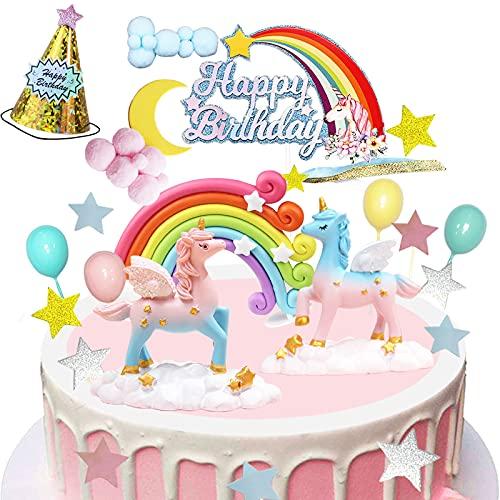 BOYATONG Deco Gateau Anniversaire Fille,Decor Gateau Licorne,Decoration Anniversaire Licorne,Happy Birthday Étoiles Licorne pour Enfants Fille Fête d'anniversaire Baby Shower