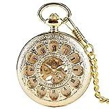 Reloj De Bolsillo Retro,Reloj De Bolsillo Mecánico Dorado,
