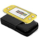 7 in 1 Carrying Case for Nintendo Switch Lite, Travel Accessory Bundle with Thumb Grips, Dockable Case, Tempered Glass, Screen Cleaning Wipe - Black