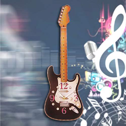 Guokee 1 Pezzo novità Chitarra a Forma di Orologio da Parete Chitarra elettrica Musica Orologio da Parete Room Decor Appeso Arte Regalo per Chitarrista Nero 50 * 17 cm