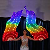 KT Mall Belly Dance LED Fan Veil, Bamboo Fans Veil Hand Made Silk Fan Light Party Stage Props for Adult 1.8M*0.9M