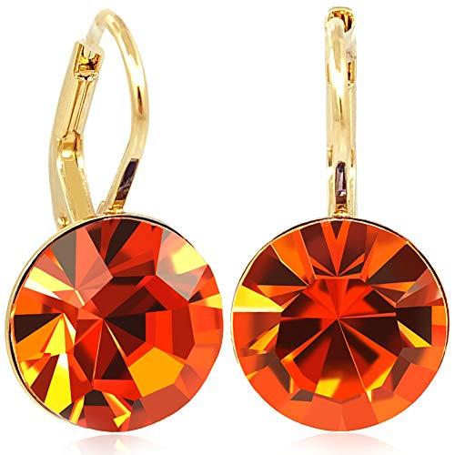 Ohrringe mit Kristalle von Swarovski® Orange Gold NOBEL SCHMUCK