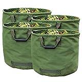 WHT 4 x Saco Plegable Jardin de 125L Resistentes con Asas, Bolsa de Jardin Verde con Tela Militar de Lona (H45.7 cm, D55.8 cm)