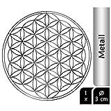 EnerChrom Blume des Lebens Aufkleber Metall 3 cm, 1 Stück - Farbe Silber - Sticker glänzend verchromt - selbstklebend, ohne sichtbare Folie