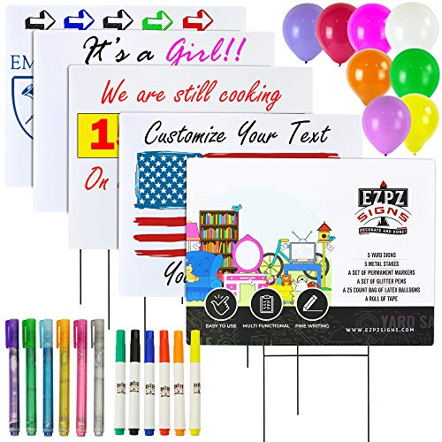 """EZPZ Signs 18"""" x 24"""" Blank Yard Signs Kit – 5 Corrugated Plastic Boards with Heavy-Duty H Stakes, 6 Permanent Markers, 6 Glitter Pens, 25 Balloons, Tape – DIY, Birthday, Car Wash, Garage Sale Signs"""