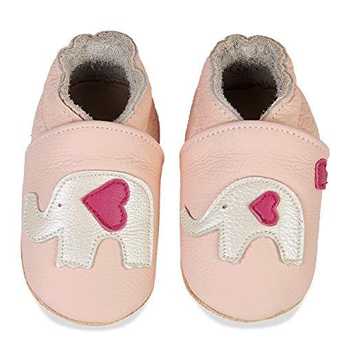 IceUnicorn Baby Lauflernschuhe Jungen Mädchen Weicher Leder Krabbelschuhe Kleinkind Babyhausschuhe Rutschfesten Wildledersohlen(Rosa Elefant, 12-18 Monate)