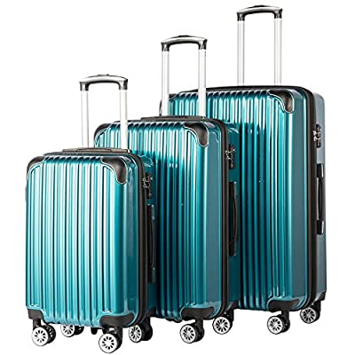 Coolife Luggage Expandable 3 Piece Sets PC+ABS Spinner Suitcase TSA lock