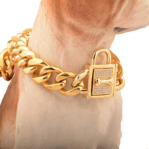 WELBLQ 19mm Hond Kraag Titanium Staal RVS Ketting Zeszijdig Micro-ingelegd Wit Diamant Gesloten Hond Ketting, 32inches, Goud