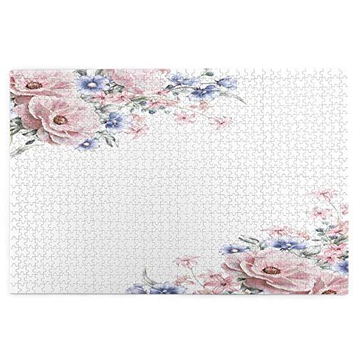 Yoliveya 1000 Stück Puzzle,Karte Aquarell Hochzeitseinladung Design Pink,Bild Puzzle Spiele für Erwachsene und Kinder Familie Hochzeit Abschlussgeschenk