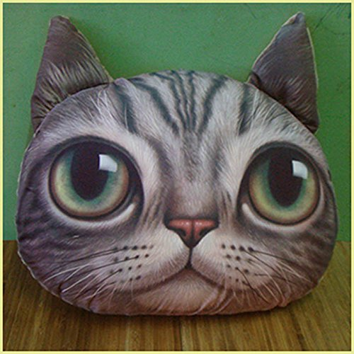 HuaYang Stylish Cat Head Shape Pillow Car Sofa Chair Back Cushion(Light Gray Meow)