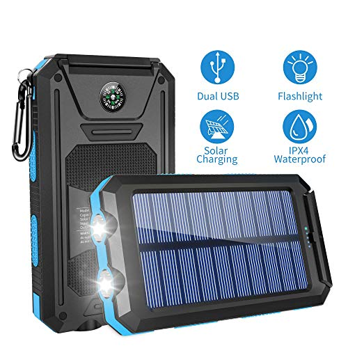 Solar Charger, Titita Solar Power Bank 10000mAh Dual USB Input Portable Battery Cellphone Charger with Compass 2 Flashlight , Waterproof Solar Phone Charger, Solar Power Pack for Smartphones Series