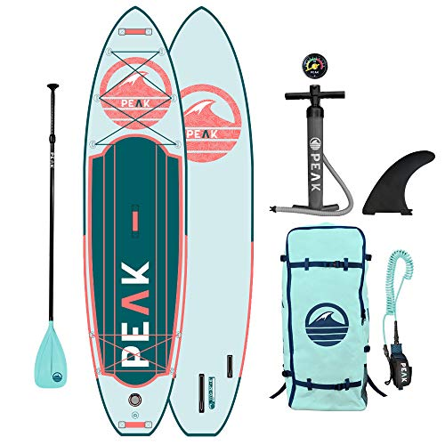 Peak Expedition Inflatable Stand Up Paddle Board — Durable Lightweight Touring SUP with Stable Wide Stance — 10'6' or 11' Long x 32' Wide x 6' Thick (Aqua, 10'6')