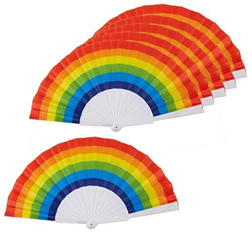 Abanicos de arcoíris - Paquete de 6- Suministros para Fiestas Rainbow - 24 cm x 3 cm x 2 cm