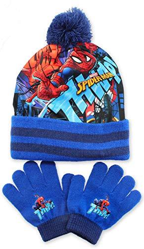 Spiderman - Juego de sombreros y guantes de invierno para niños