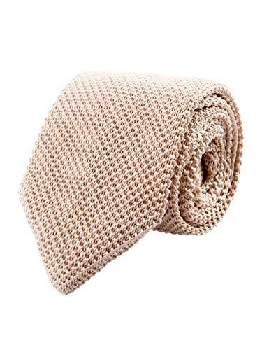 Hombres Corbata de Punto Corbata Tricot con un Ancho de 7cm Narrow Tie Retro Deportiva Casual Negocio Básica - Beige
