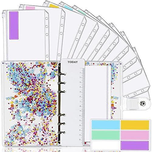 OVBBESS Carpeta A6 y 12 sobres transparentes, carpeta de presupuesto con sobre de efectivo para presupuesto con carcasa de sobres de presupuesto