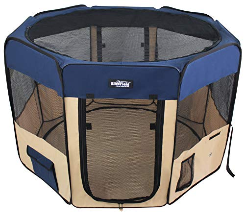 """Price comparison product image EliteField 2-Door Soft Pet Playpen,  Exercise Pen,  Multiple Sizes and Colors Available for Dogs,  Cats and Other Pets (62"""" x 62"""" x 30""""H,  Navy Blue+Beige)"""