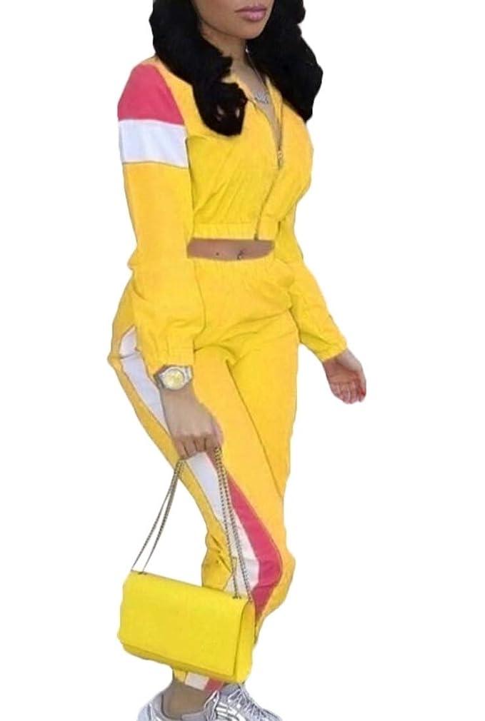 ようこそ見積りトラフィック女性カラーブロックパッチワークロングスリーブジャケット作物トップ+ロングパンツトラックスーツセット2ピース衣装