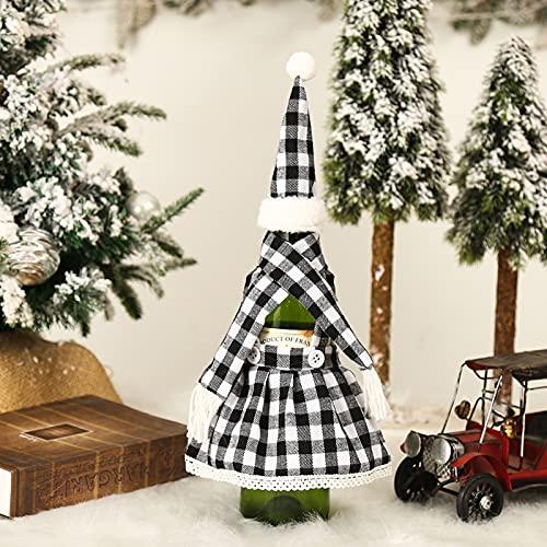 RIsxfh122 1 juego de funda de botella de disfraz de Navidad, adorableBrillo-color festivo, cubierta de botella de vino, decoración de...