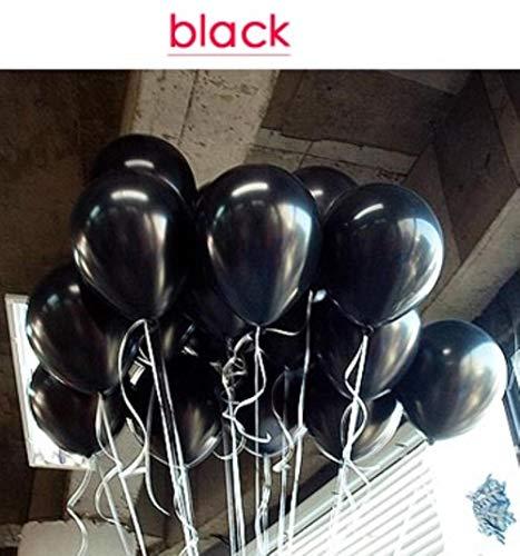 SELLA Geburtstagsballons 10 Zoll Latex Silber Rotgold Ballon Verdickung Perle Party Ballon Ball Home Deco Hochzeitsballons, schwarz, 10 Zoll