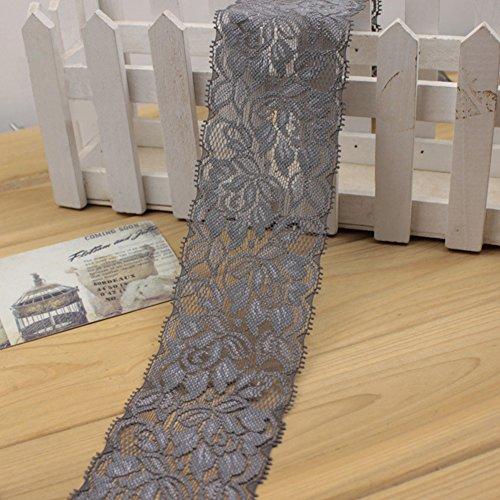 1 M Cinta encaje elástico Flor Cinta estiramiento floral Correa costura Correa encaje Adorno encaje para falda vestir pa Decoración Artesanías bricolaje(Gris)