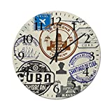 Homesonne Atomic Wall Clock Travel Concept Passport Stamp Design of Cuban Cities and Landmarks Large Decorative Wall Clock Simple and Functional Design and Color Cobalt Blue Grey and Dimgrey 9.8 Inch