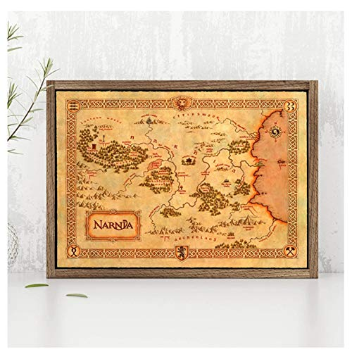 Narnia Map Poster Chronicles of Narnia Prints Vintage Style Fantasy Maps Wall Art Picture Canvas Painting Home Room Wall Decor-40X60cm No Framed