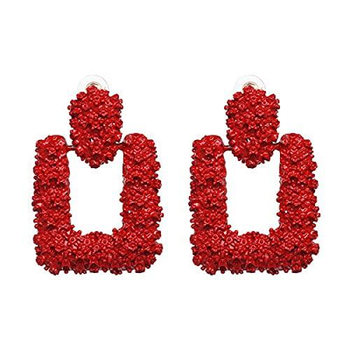 Grandes pendientes de gota de metal de color dorado moda punk maxi pendientes geométricos mujeres pendientes colgantes partido encanto-rojo
