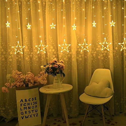 AIMENGTE Luci per tende a stella 12 stelle 138 Luci a LED per stelle a stella 8 modalità Luci per tende a forma di stella Luci per tende per camera da letto, matrimonio, festa, Natale, decorazioni