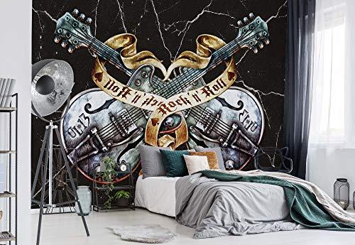 Gitarren Rock Roll Heavy Metal - Wallsticker Warehouse - Fototapete - Tapete - Fotomural - Mural Wandbild - (1084WM) - XL - 208cm x 146cm - VLIES (EasyInstall) - 2 Pieces