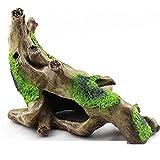 ZYDX Aqua Ornamenten, Adorno de Tronco de árbol de Resina de Acuario - Decoración de casa de Madera de pecera, pez Betta u Otras Mascotas Pueden Nadar a través de Las Ramas
