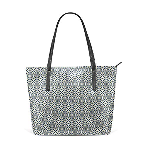 NR Multicolour Fashion Damen Handtaschen Schulterbeutel Umhängetaschen Damentaschen,Überlappende Formen Symmetrische Ornamentfliese Blaue und gelbe Schattierungen