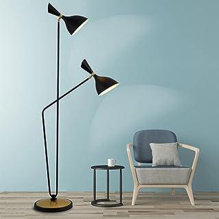 Lampadaire Simple moderne personnalité créative 2 têtes noir/blanc lampadaires en métal pour hôtel chambre étude Art décor...