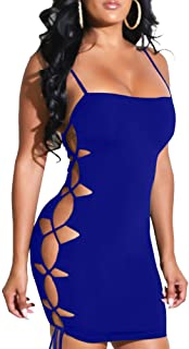 TOB Women's Sexy Bodycon Spaghetti Strap Lace Up Tank Mini Club Dress