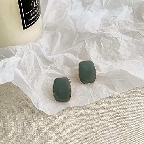 SALAN Pendientes De Clip No Perforados con Esmalte Cuadrado De 6 Colores con Estilo para Mujeres Elegantes, Clips De Oreja Simples para Mujer, Joyería