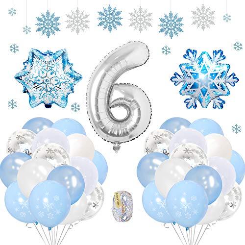 SPECOOL Frozen 6 Años Globos Decoración Cumpleaños Niña, Globo Fiesta de Globos Blancos Azules Confeti de Copos de Nieve para Fiesta de Cumpleaños Aniversario Graduación Centro Decoración de Fondo