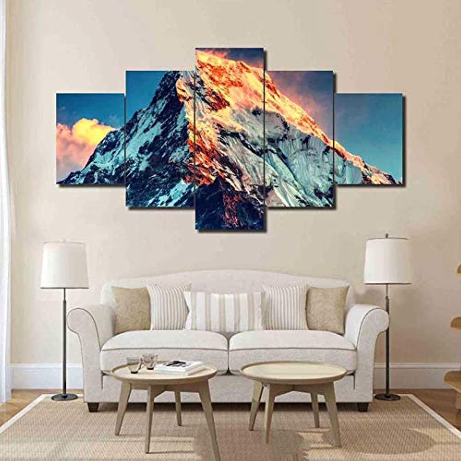 Interior Living Room Canvas Painting Modular 5 Panel Mount Everest Landscape Frame Wall Art Poster Modern HD Print Pictures