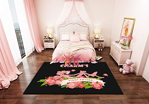 Happves Alfombra Pantera Rosa y Rosa Moderno geométrico Tradicional Sala de Estar Dormitorio decoración del hogar Yoga Ocio Estera Estera de arrastre-200x290cm