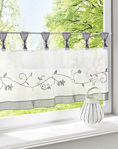 ZebraSmile Embroidered Window Tier Curtain Tier Semi Sheer Curtain Window Treatment Tab Top Voile Window Curtain Tier Half Window Curtains for Kitchen Bathroom Living Room Cafe Curtain 24X57In