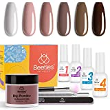 Beetles Dip Powder Starter Kit 6 Colors Coffee Café Collection Brown Neutral Beige Mauve Dipping Powder Nail Dip System for Dip Nails Manicure Nail Art Set,No LED Nail Lamp Needed, 0.53 fl.Oz/Each