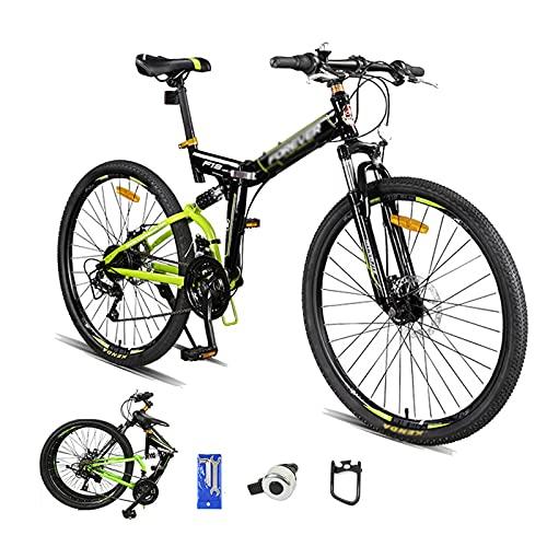 WANYE Mountain Bike Pieghevole a Sospensione Completa da 26 Pollici, Telaio in Acciaio al Carbonio Ad Alta Resistenza a 24 velocità MTB, Bicicletta da Montagna con Freno a black-24speed