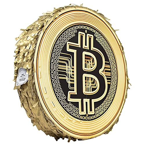 Golden Bitcoin Double Face Pinata for Birthday Party Decoration Collectable Coin for Digital Currency Photo Prop…
