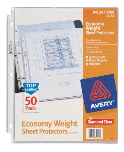 Avery Economy Clear Sheet Protectors, Acid Free, Bag of 50 (75182)