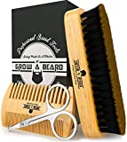 Beard Brush, Comb, & Scissors Grooming Kit for Men's Care, Gift Box & Travel Bag, Cool Bamboo Set to Distribute Balm or Oil for Growth, Styling, Shine & Softness, Great Christmas Gifts for Him